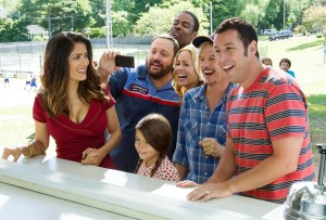 Roxanne Feder (Salma Hayek), Eric Lamonsoff (Kevin James), Becky Feder (Alexys Nicole Sanchez), Kurt McKenzie (Chris Rock), Sally Lamonsoff (Maria Bello), Lenny Feder (Adam Sandler) and Marcus Higgins (David Spade) at The Ice Cream House in Columbia Pictures' GROWN UPS 2.